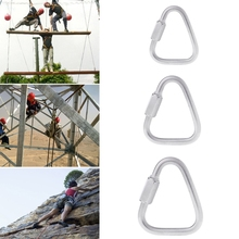 304 Stainless Steel Screw Lock Triangle Carabiner Climbing Gear Safety Snap Hook