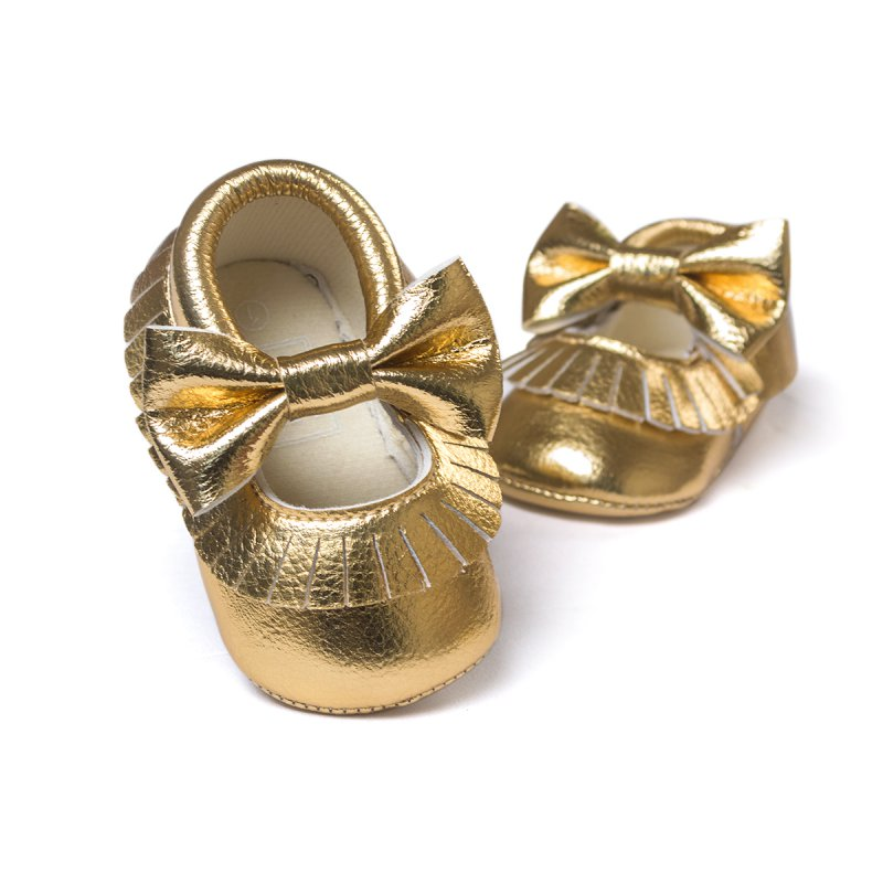 Baby Shoes PU Leather Shoes Kids Girls Moccasins Gold Bow First Walker Toddler Shoes