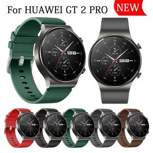 Image 1 - Sportowy skórzany pasek do zegarka Huawei GT 2 Pro pasek oficjalny styl Watchband do huawei gt2 pro opaska wymiana bransoletki