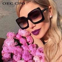 OEC CPO Women Oversize Sun glasses Fashion Female Square Sunglasses Women Famous Brand Black Vintage Shades UV400 O126 цена