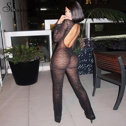 Simenual Mesh przezroczysta gorąca, seksowna damska kombinezony Backless grafika z tygrysem kombinezony z długim rękawem Hollow Out Party Fashion Romper nowość