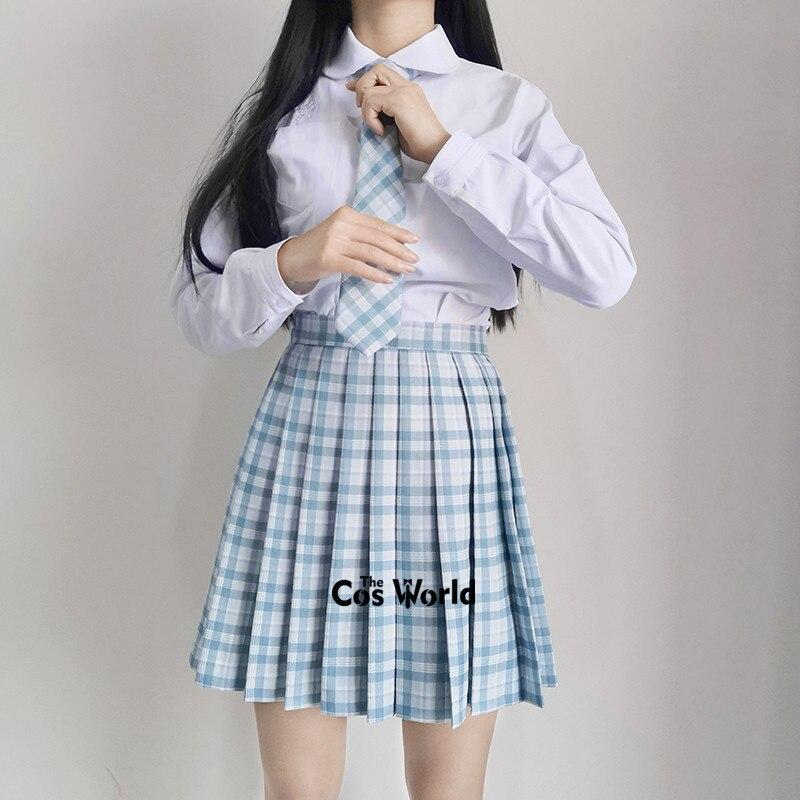 [ Blue Soda] Girl's Summer High Waist Pleated Skirts Plaid Skirts Women Dress For JK School Uniform Students Cloths