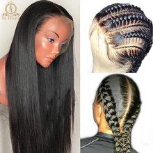 180 densidade pré arrancadas hd perucas completas do cabelo humano do laço glueless perucas completas do cabelo humano do laço 360 perucas retas do laço para a mulher preta