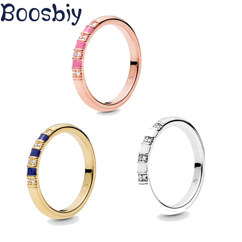 Boosbiy Fashion Bright Exotic Rhinestone & Striped Ring For Women Gold Silver Fine Couple Jewelry Gift Dropshipping