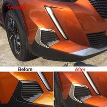Tonlinker-cubierta de luz antiniebla delantera para automóvil, carcasa con adhesivo para Peugeot 2008 2020, estilo de coche, pegatinas de cubierta de cromo ABS, 2 uds.