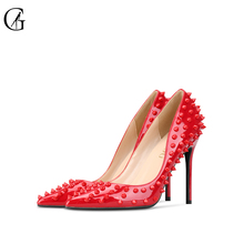 Купить с кэшбэком GOXEOU 2019  NEW woman High heels shoes Ladies Sexy Pointed Toe women pumps Buckle rivets red heels shoes free shipping size 46