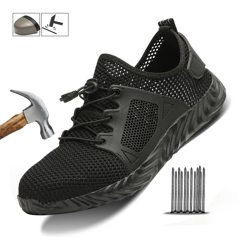 Outdoor Steel Toe Anti Smashing Protective Anti-slip Puncture Proof Safety Shoes Light Work Safety Shoes Indestructible Sneakers