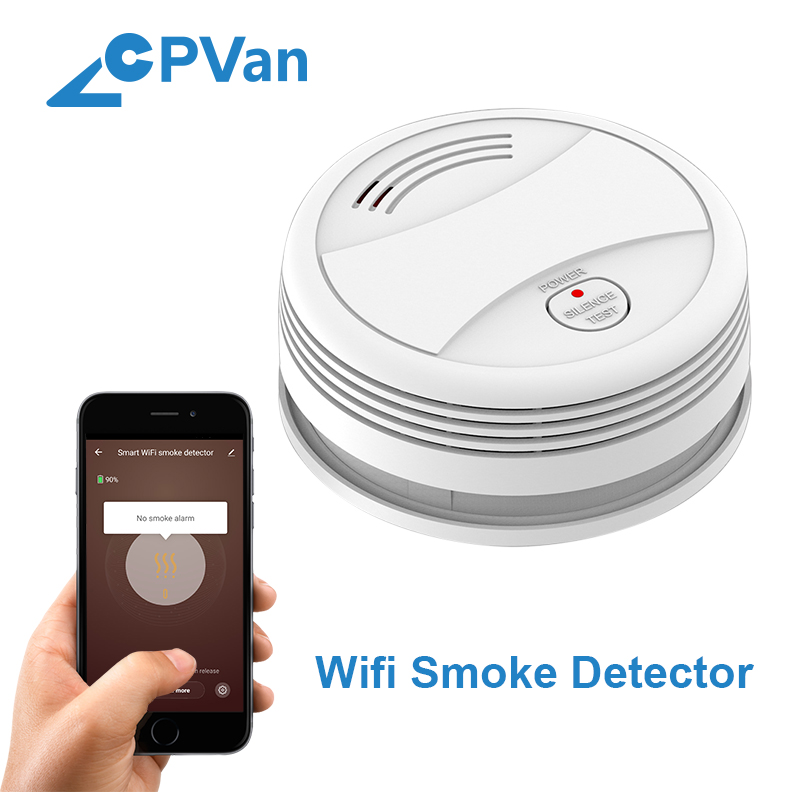 Cpvan sm05w огонь fogo wifi detector de fumaça sem fio proteção contra incêndios tuya controle app casa alarme de fumaça wifi rookmelder alarme de incêndio