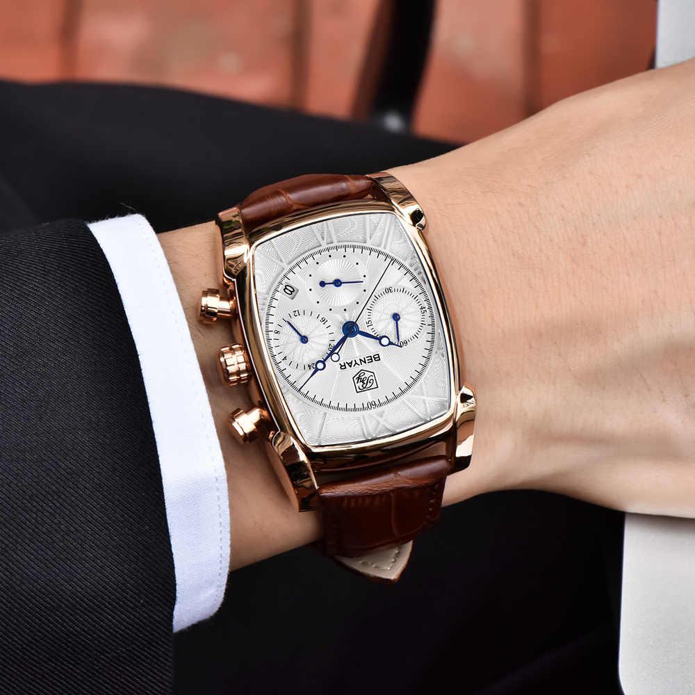 BENYAR 2019 למעלה מותג יוקרה ספורט צבאי גברים שעונים איש הכרונוגרף קוורץ שעון עור צבא זכר שעון Relogio Masculino