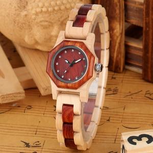 Image 3 - Elegant Rhinestones Octagon Shape Watch Wood Watch Women Clock Full Wooden Chic Bangle Dress Watch Top Luxury Relogio Feminino