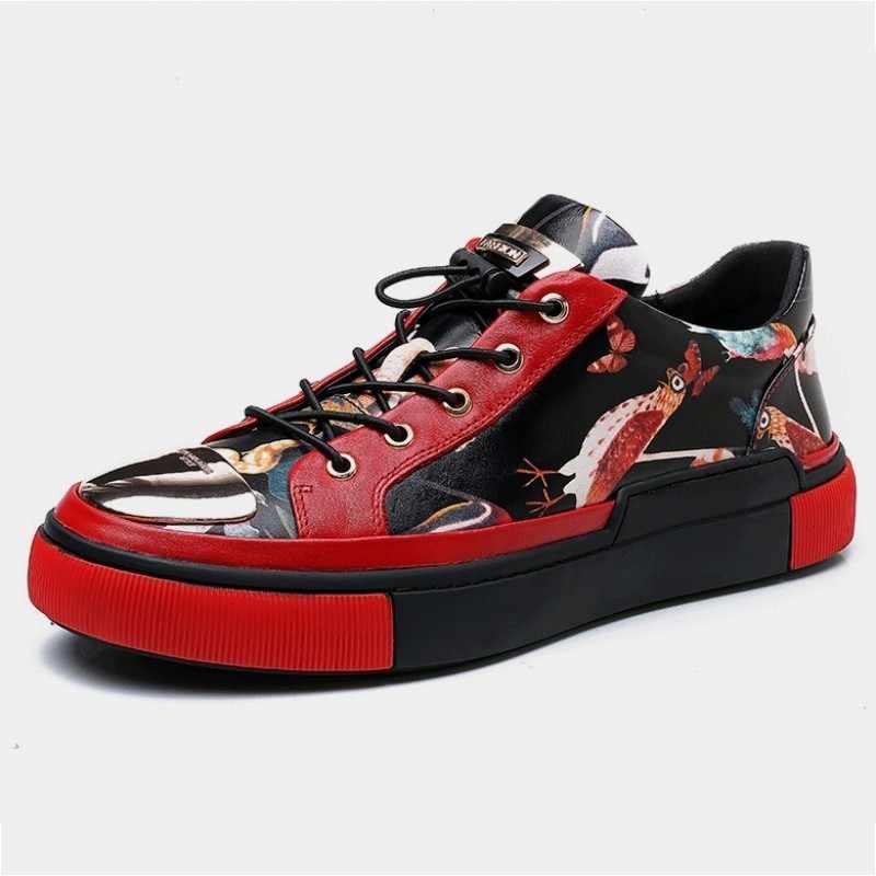 Nova moda impressão de luxo couro genuíno tênis masculino dedo do pé redondo casual rendas até sapatos respirável formadores chaussure homme