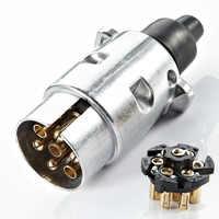 12V 7 Pin enchufe redondo macho de Metal remolque camión de aleación de aluminio camión remolque enchufe eléctrico junta de iluminación macho
