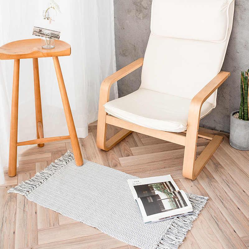 スカンジナビアセラミックカップ敷物小さな正方形シンプルな手織綿タッセル無地玄関マットリビングルーム用カーペット