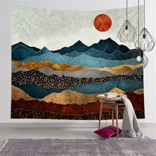 Background Cloth Landscape Scenery Nordic Tapestry Tapestry Wall Hanging wallpaper Aesthetic Room Decor Home Boho