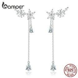 Bamoer longo borla gota balançar brincos para o casamento feminino genuíno 925 prata esterlina jóias finas brincos nova moda bse288