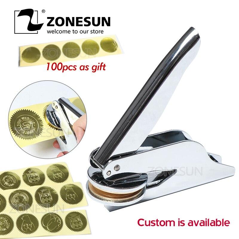 ZONESUN Custom Embosser Stamp Persoanlized Logo Embossing Seal Address For Paper Document Envelope Embosser Wedding Invitations