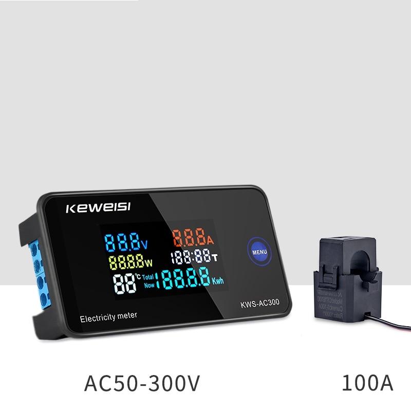 AC 6в1 220 В 110 В 50 В ~ 300 В 100А Цифровой амперметр мощность энергии Вольтметр Амперметр вольт ватт кВт · ч измеритель температуры время Сплит CT