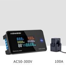 Ac 6in1 220v 110v 50v ~ 300v 100a digital ampermeter energia voltímetro amperímetro volt watt kwh medidor de temperatura tempo dividir ct