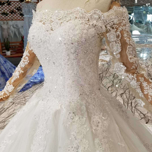 Image 5 - HTL108 bohemian wedding dress like white off the shoulder boat neck long tulle appliques sleeves розовое платье