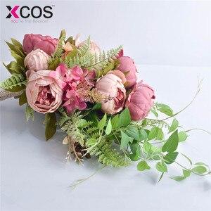 Image 4 - XCOS 2019 Nuovo 4 Stili di Acqua Goccia Cascata Elegante Bouquet Da Sposa Artificiale Carla Rosa Bouquet Da Sposa Bouquet Bianco Mariage