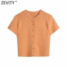 Zevity Femmes Simplement O Cou Manches Courtes Couleur Orange Court Tricoté Pull Femme Chic Diamant Boutons Cardigans Manteau Hauts SW807