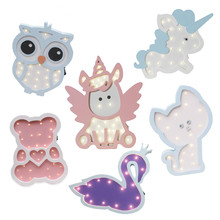 New  Cute Angel Night Light Pink Blue Unicorn Cartoon Animal LED Bedroom Decor Desk Lamp Home Lighting Kids Birthday Gift