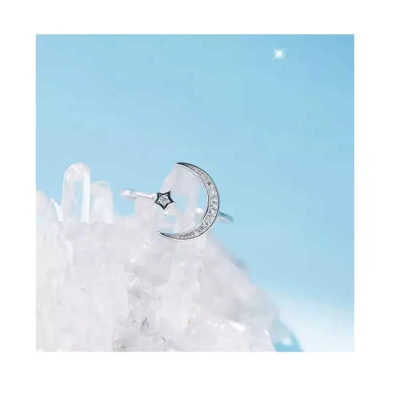 Prosta cyrkonia Moon Star 925 srebro pierścionki dla kobiet dziewczyna regulowany rozmiar S-R467