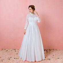 A-ligne robes de mariée Simple Satin Bateau cou Court Train à manches longues robe de mariée 2021