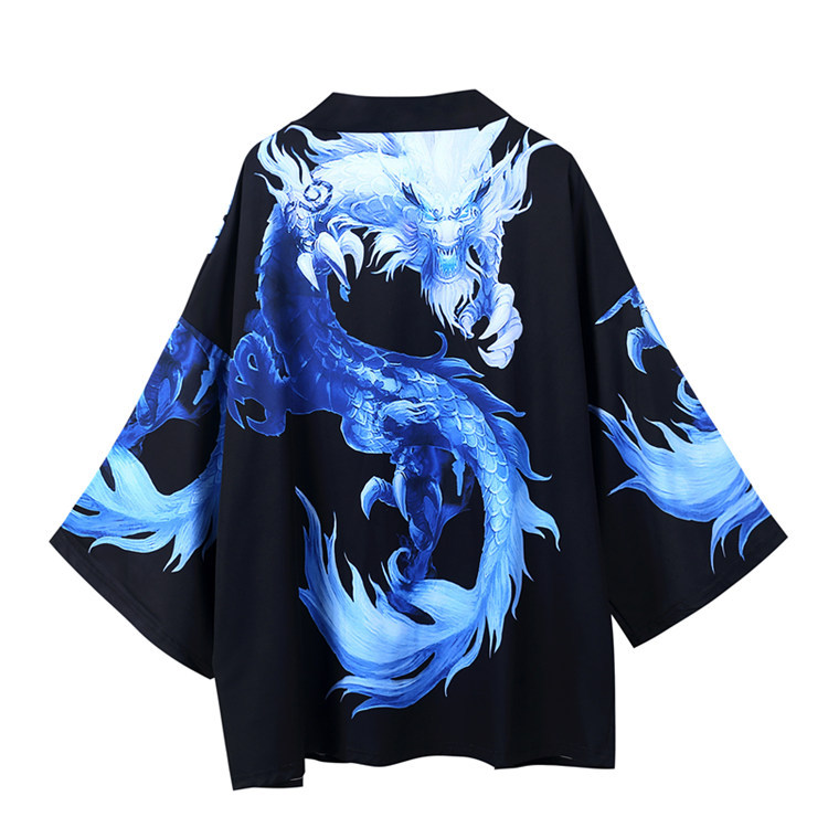Traditional Japanese Kimonos Cardigan Dragon Printi Men Women Seven-point Sleeve Sunscreen Thin Loose Summer Yukata Shirt Robe