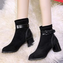 Vintage Women Boots Buckle Pointed Ankle Bare Boots Classic Basic Black Square Heel Casual Short Tube Booties zapatos de mujer(China)