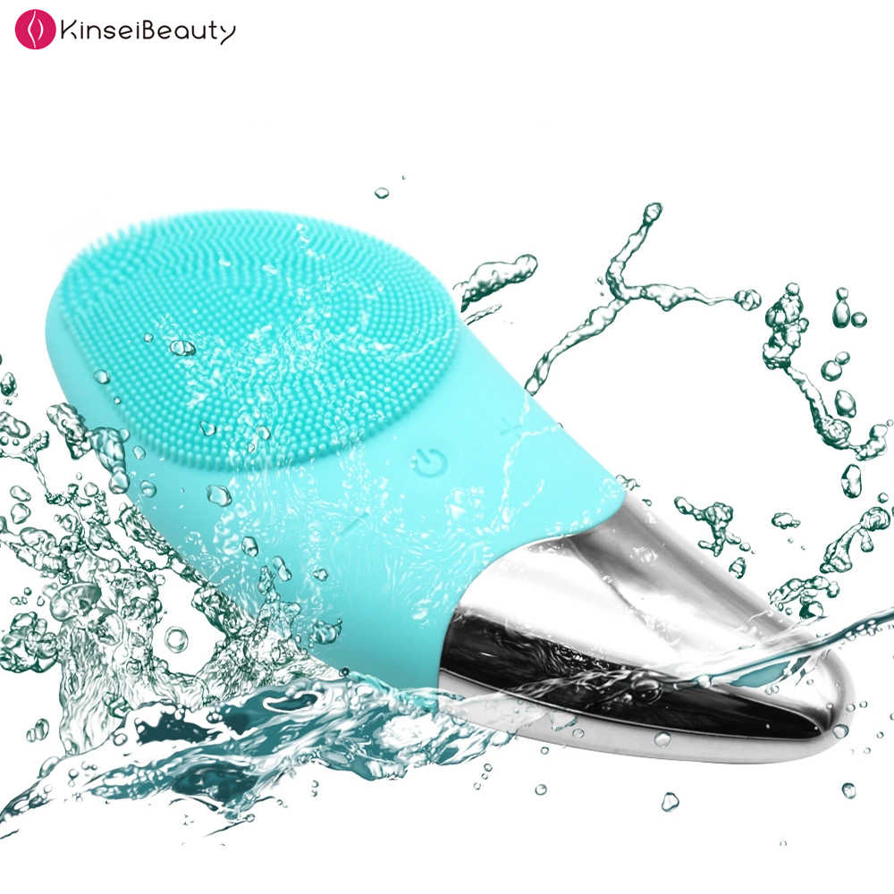 2 で 1 電気洗顔料の洗浄顔洗浄機スキンポアクリーナーシリコーン洗顔ブラシフェイシャルマッサージブラシ