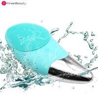 2 em 1 escova de limpeza facial elétrica  máquina de limpeza de rosto  limpador de poros de silicone para limpeza facial