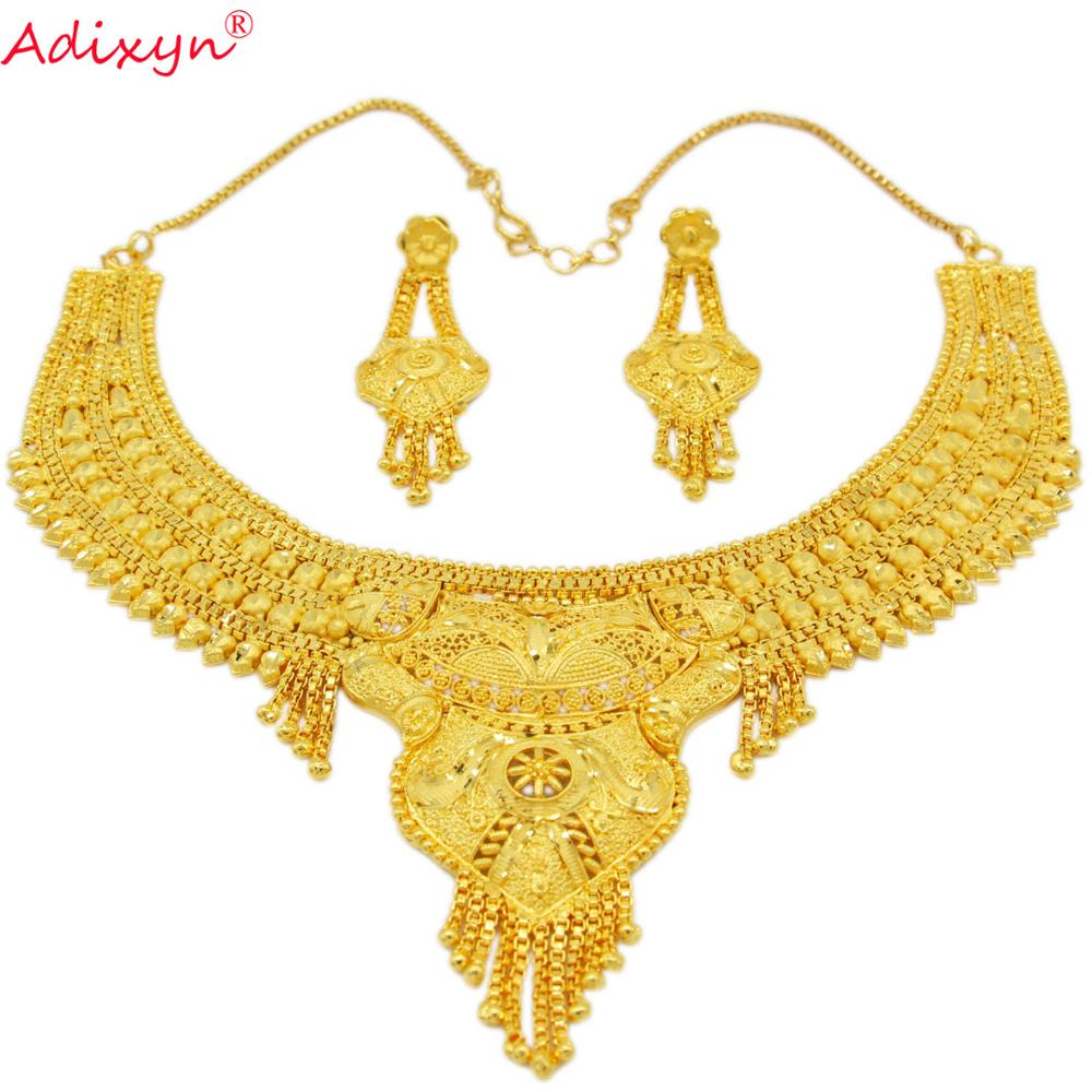 Adixyn NEW African Necklace and Earrings Wedding Women Jewelry set Gold Color/Copper African/Ethiopian/Dubai Party Gifts N02214