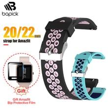 BAPICK Xiaomi Amazfit Bip Strap Bracelet Silicone Sport Strap For Amazfit Bip Free Gift Glass Protector Amazfit Bip Accessories аксессуар ремешок df для xiaomi amazfit bip xiclassicband 01 red