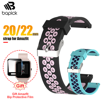 BAPICK Xiaomi Amazfit Bip Strap Bracelet Silicone Sport Strap For Amazfit Bip Free Gift Glass Protector Amazfit Bip Accessories