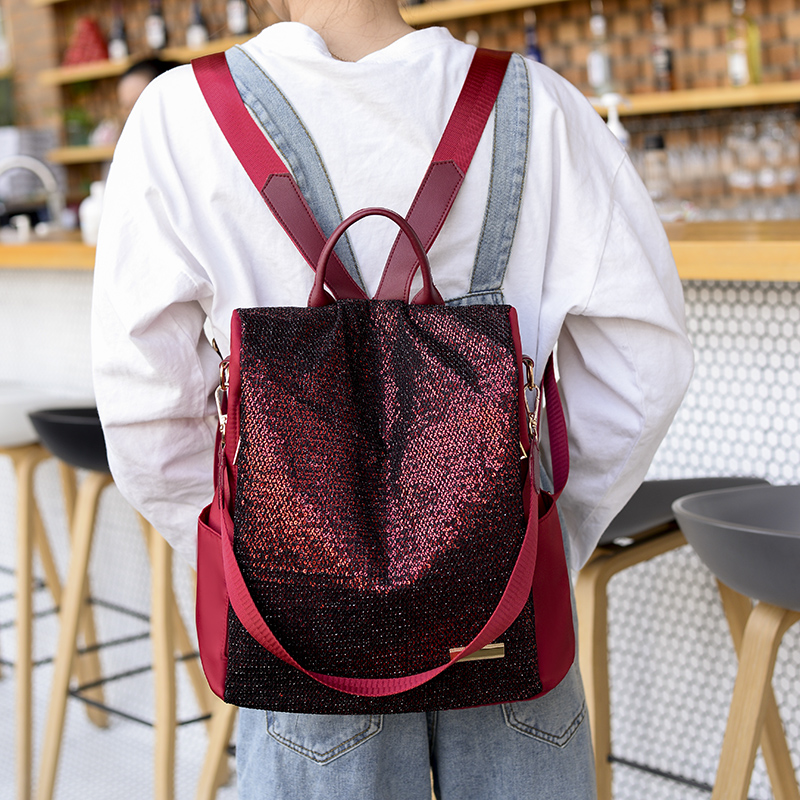 Image 5 - Simple style ladies backpack anti theft Oxford cloth tarpaulin stitching sequins juvenile college bag purse Bagpack MochilaBackpacks   -