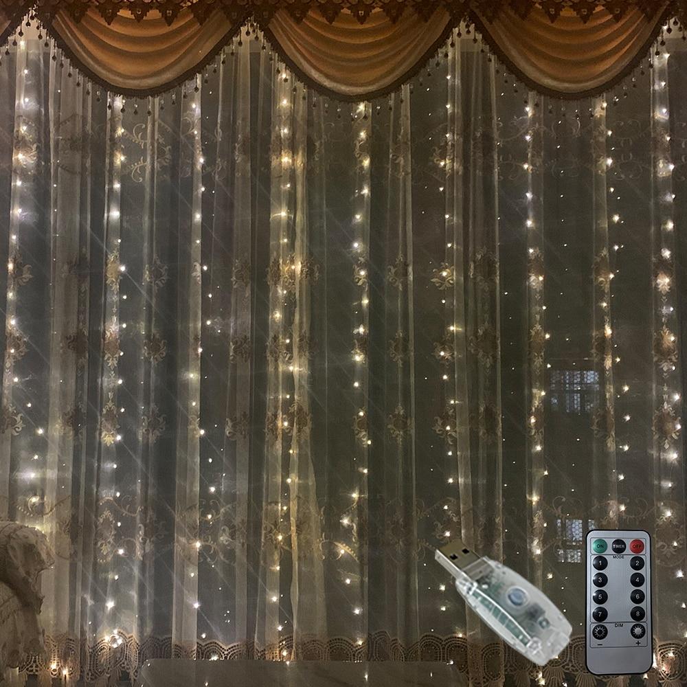 Rideau lumineux avec télécommande, alimenté par USB, 3M, LED, guirlande lumineuse féerique de noël, LED, décoration de fête, jardin, maison, mariage 2