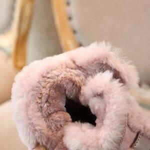 Image 5 - Inverno couro genuíno quente meninos & meninas sapatos crianças nova fivela de couro bota quente pelúcia ao ar livre crianças neve bota criança che06