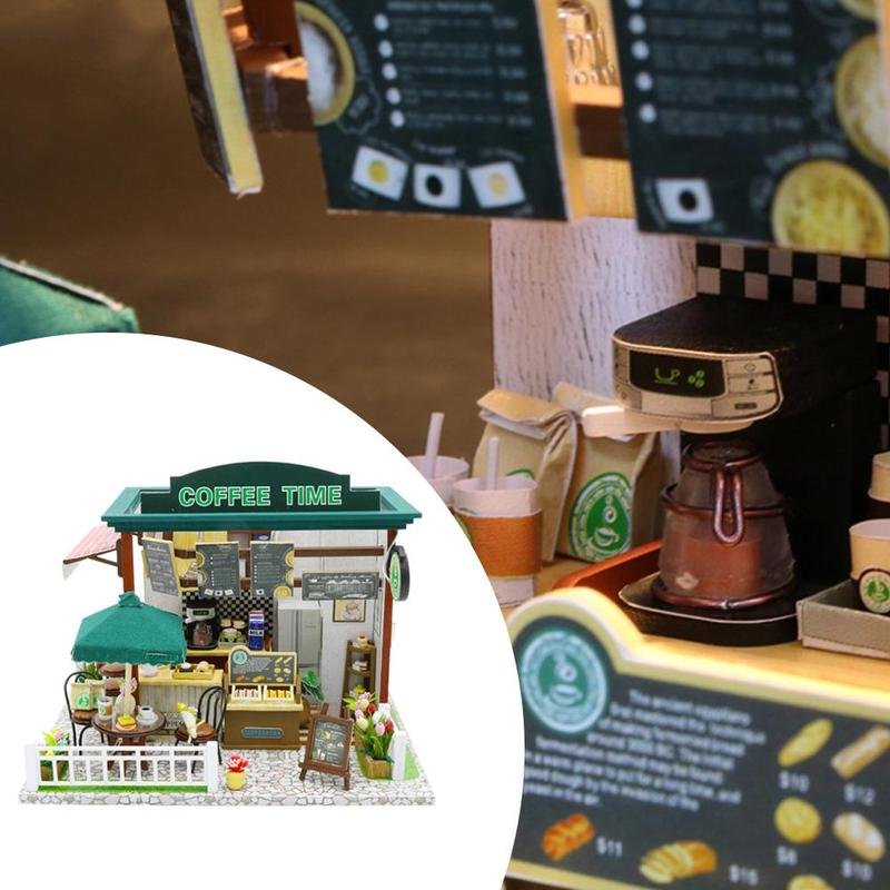 DIY Cabin Time Coffee House Hand-assembled Villa Model Building House D9M6