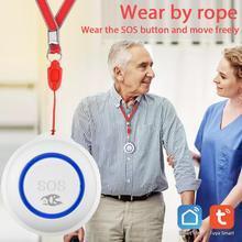 Смарт-будильник TUYA с Wi-Fi и кнопкой SOS, Беспроводной сенсор, водонепроницаемая аварийная сигнализация для пожилых людей, переключатель для ра...