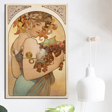 Alphonse Maria Mucha Holding Fruit Canvas Painting Print Living Room Home Decoration Artwork Modern Wall Art Oil Poster