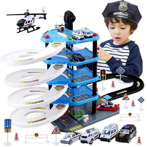 Police Fire Parking Suit Kids Toys Urban Multilayer Track Miniature Garage For Cars Parking Lot Puzzle Boy Toys Christmas Gift