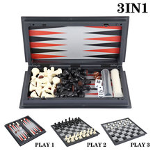 3 In 1 Magnetic Chess Backgammon Checkers Set Folding Chess Portable International Chess Board Game for Kids Toys Funny Gift