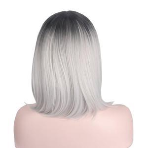 Image 4 - קצר אפור פאת כסף שערות Ombre קוספליי פאות עבור נשים קצר בוב פאה לא פוני התיכון חלק כתף אורך לא שיער טבעי Anxin