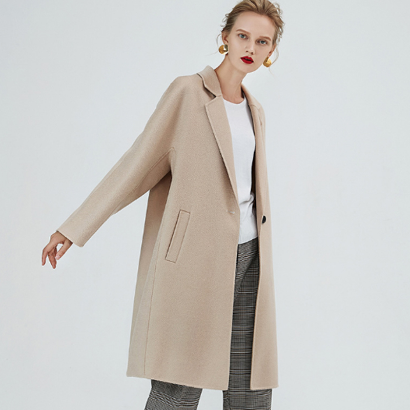 Image 4 - Comfortable Long Autumn Winter Coat Women Wool Blends Coat Fashion Slim Brown/Beige Color Cashmere Girls Woolen Fabric CoatsWool & Blends   -
