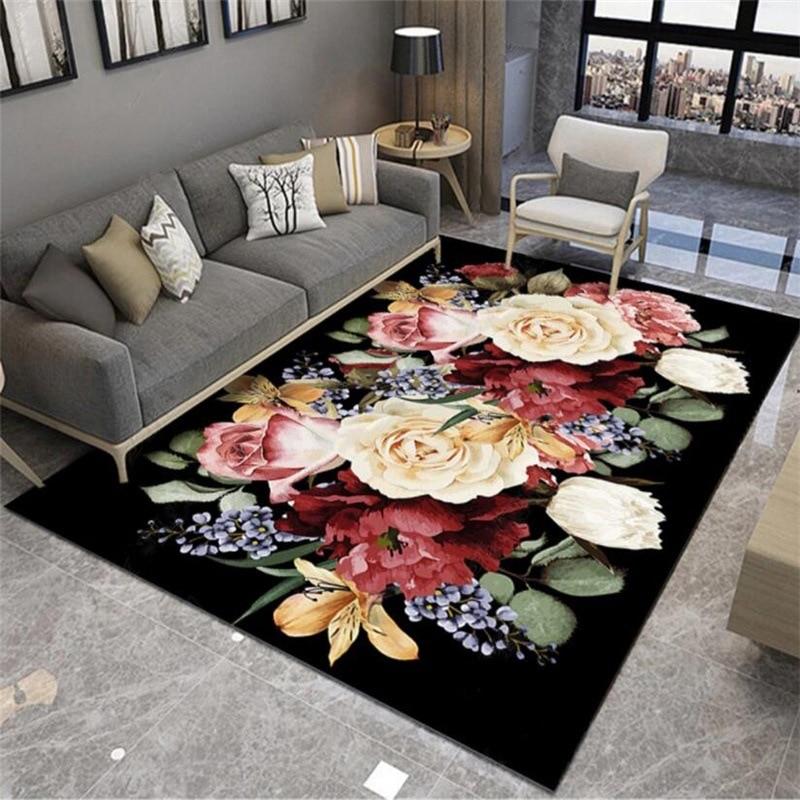 3D Creative Flowers Printed Carpet Hallway Non-Slip Floor Mats Living Room Table Sofa Large Area Rugs Bedroom Bedside Carpets