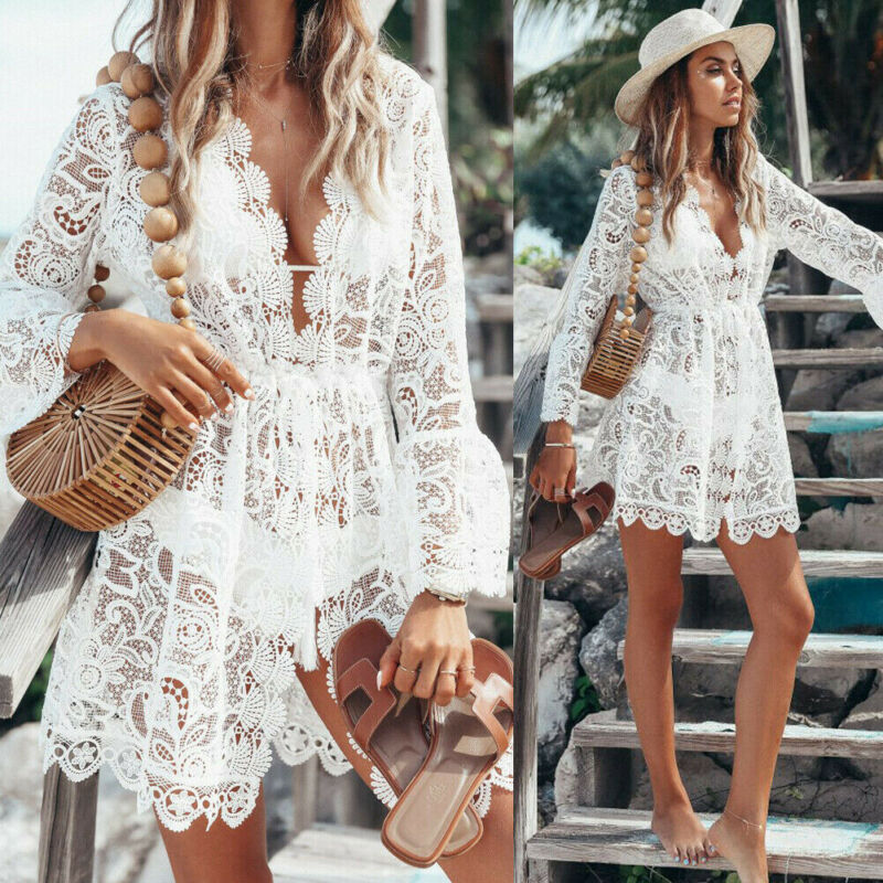 Summer Sexy Women Lace Crochet Bikini Cover Up Swimwear Bathing Suit Summer Swimwear New Arrival