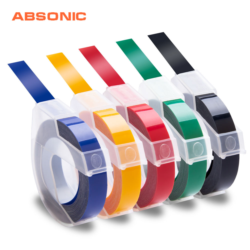 Motex 5 STANDARD COLOUR Embossing Label Maker Tapes 9mm x 3m
