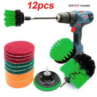 12pcs Drill Power Scrub Clean Brush For Leather Plastic Furniture Car Interiors Tiles Floors Cleaning Power Scrub 2/3.5/4 inch