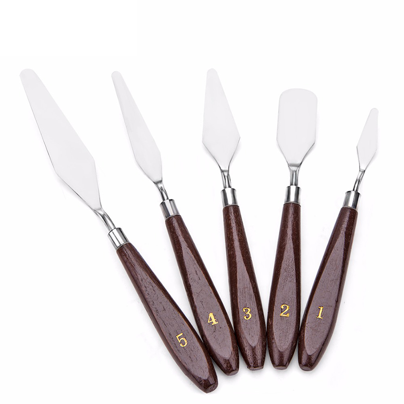 5pcs/set Stainless Steel Oil Knives Artist Crafts Spatula Palette Knife Set For Artist Oil Painting Mixed Scraper Art Supplies 2